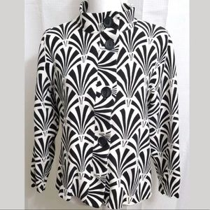 CHICO'S black & off white button cardigan size 3